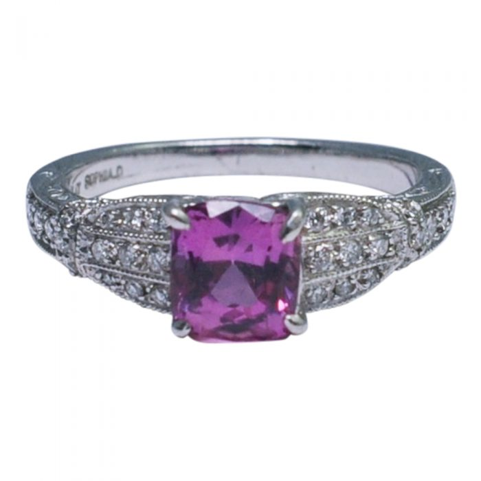 Sophia D Pink Sapphire Diamond Platinum Engagement Ring