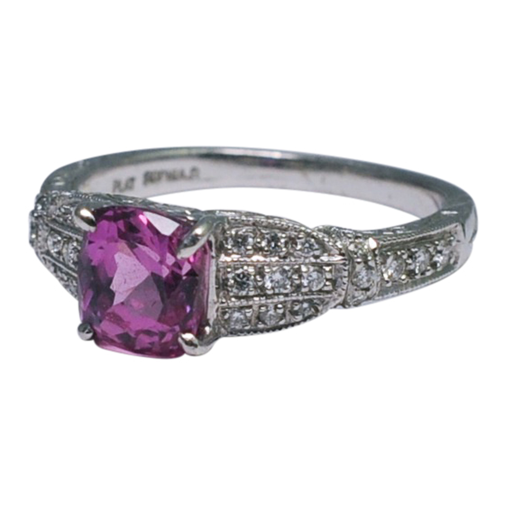 for rings three jewelry diamond sapphire id stone suchy l pink ring peter j sale platinum