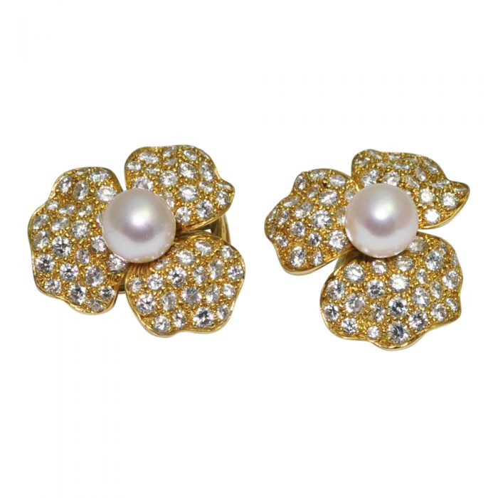 Pearl Diamond 18ct Gold Flower Ear Clips
