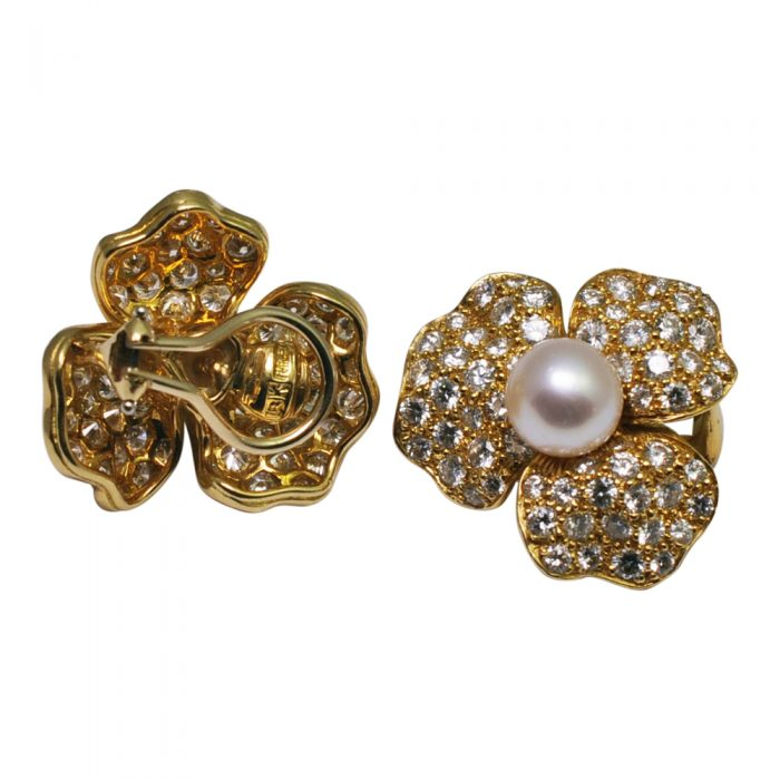 Pearl Diamond 18ct Gold Flower Ear Clips
