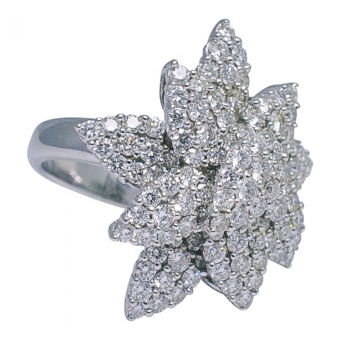 Diamond Flower 18ct Gold Ring