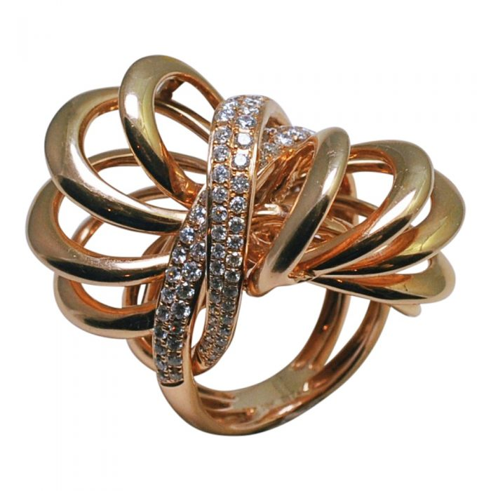 Diamond 18ct Rose Gold Double Bow Ring