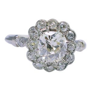 Art Deco Diamond Halo Platinum Engagement Ring