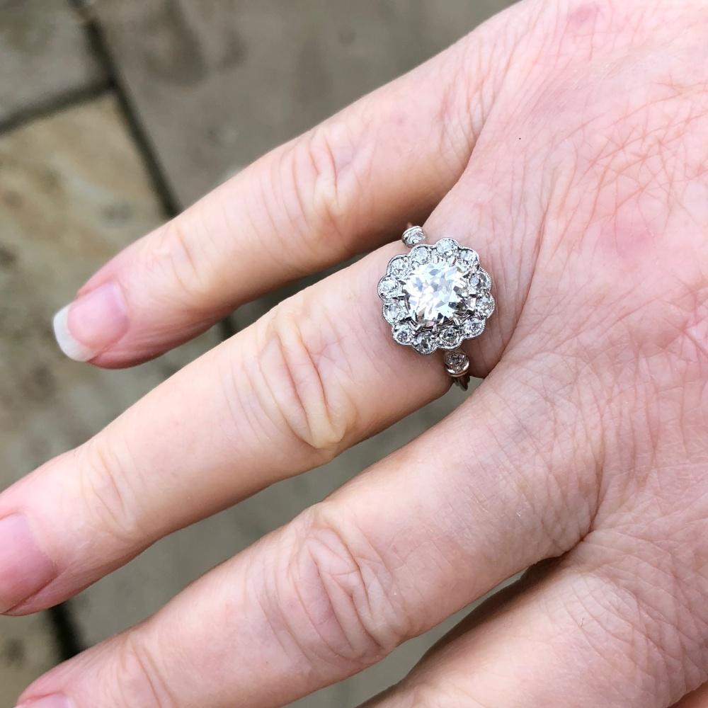 Art Deco Diamond Halo Platinum Engagement Ring - Plaza Jewellery
