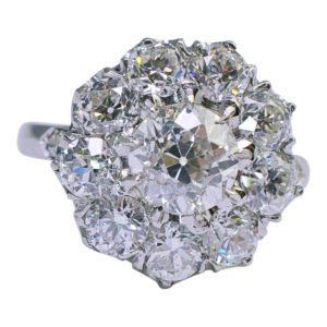 Diamond Cluster Platinum 1930s Ring