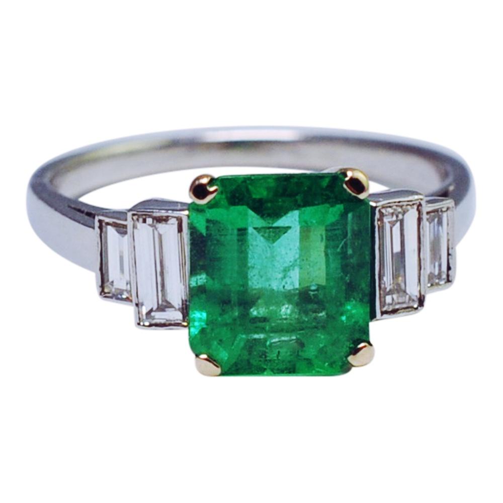 Art Deco Emerald Diamond Platinum Engagement Ring Plaza
