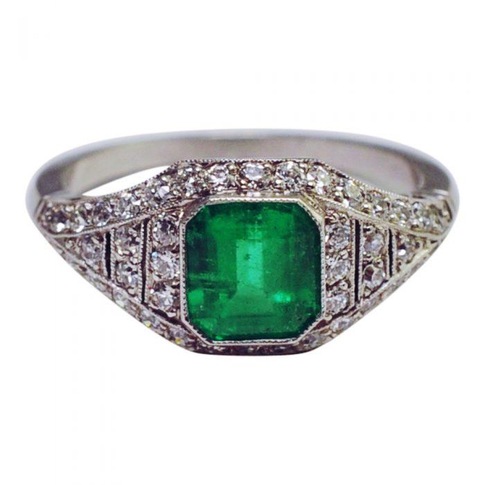 Art Deco Emerald Diamond Platinum Engagement Ring
