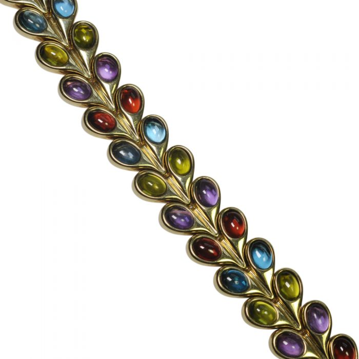 Multi Coloured Cabochon Gemstone Gold Bracelet