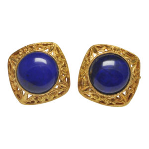 Lapis Lazuli Gold Filigree Earrings