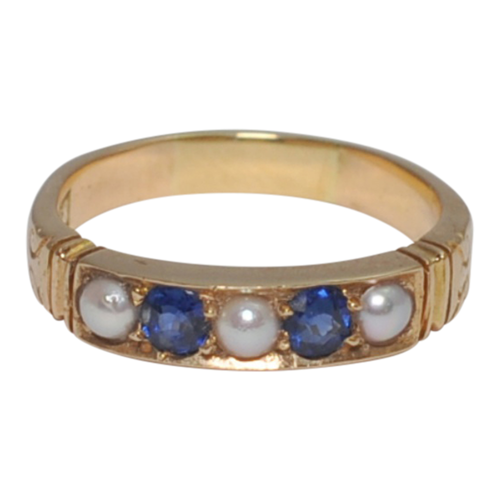 Victorian Blue Sapphire and Split Pearl Ring