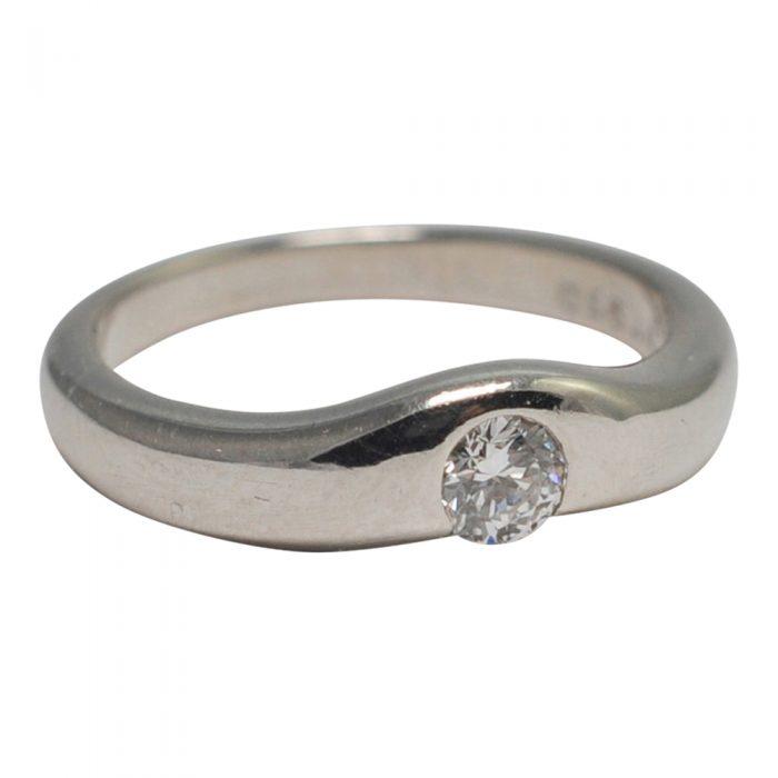 Elsa Peretti Tiffany Curved Band Diamond Platinum Ring