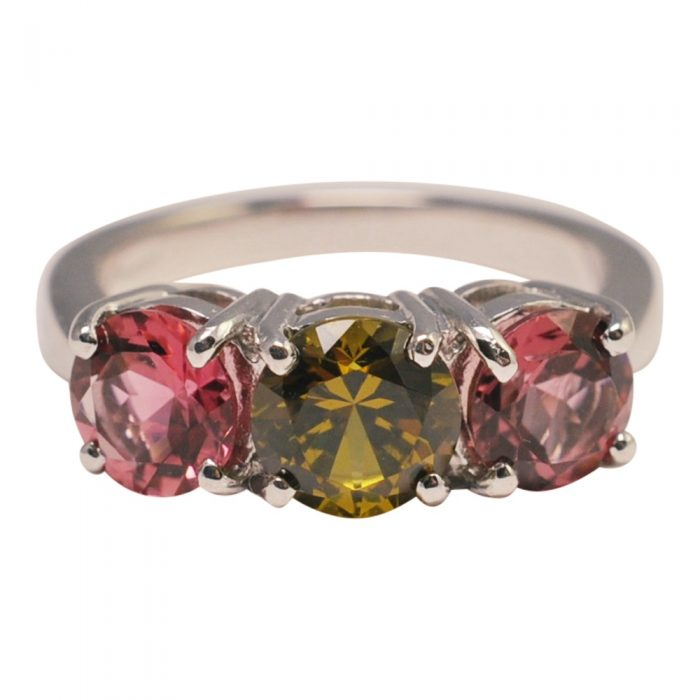 Pink Tourmaline Grossular Garnet Gold Ring