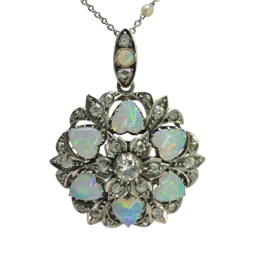 Edwardian opal diamond gold pendant brooch plaza jewellery edwardian opal diamond gold pendant brooch aloadofball Gallery