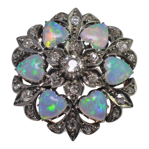 Edwardian Opal Diamond Gold Pendant Brooch
