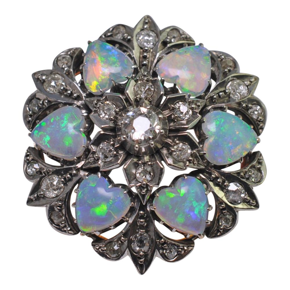 Edwardian opal diamond gold pendant brooch plaza jewellery edwardian opal diamond gold pendant brooch mozeypictures Choice Image