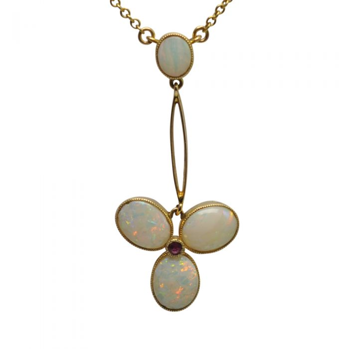 Edwardian Opal Ruby Gold Pendant