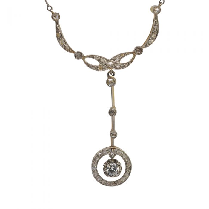 Antique French Diamond Gold Platinum Necklace