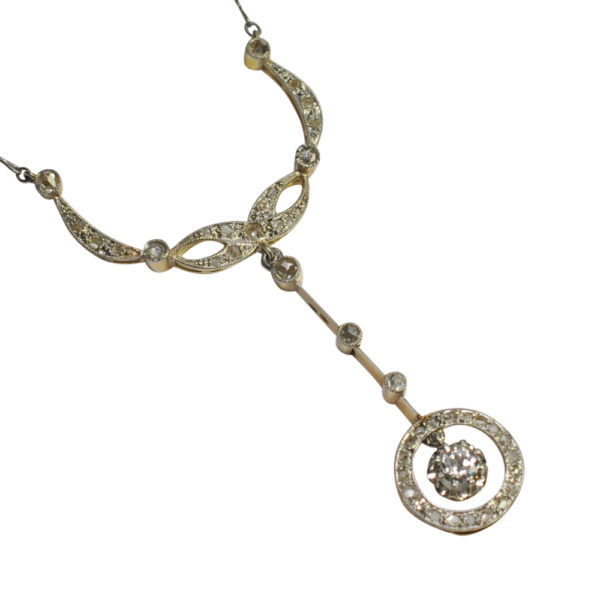 Antique French Diamond Gold Platinum Necklace