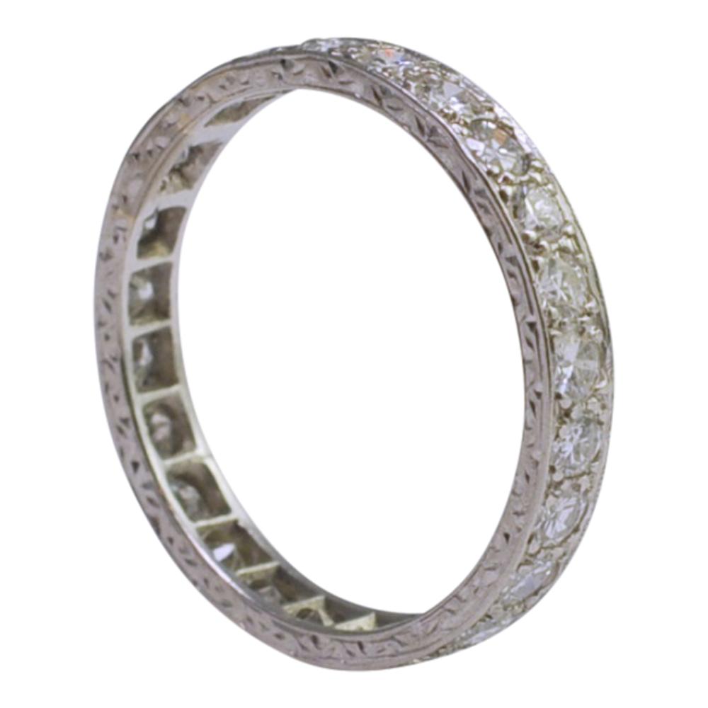Diamond Eternity Platinum: Art Deco Diamond Platinum Eternity Ring SOLD
