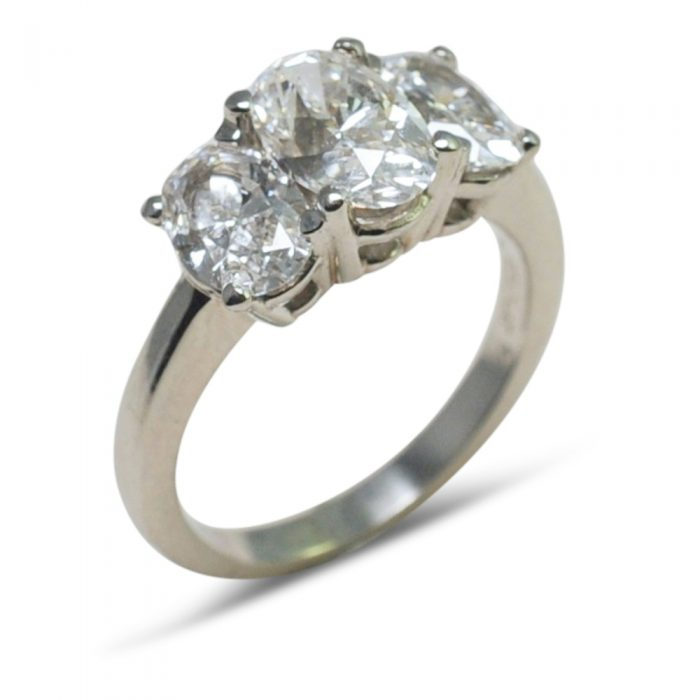Oval Diamonds and Platinum Trilogy Ring