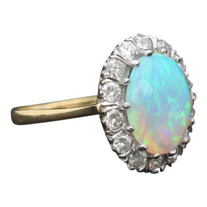 Opal Diamond Gold Cluster Ring