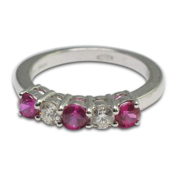 Ruby Diamond Gold Half Eternity 5 Stone Ring 5 Stone Ring