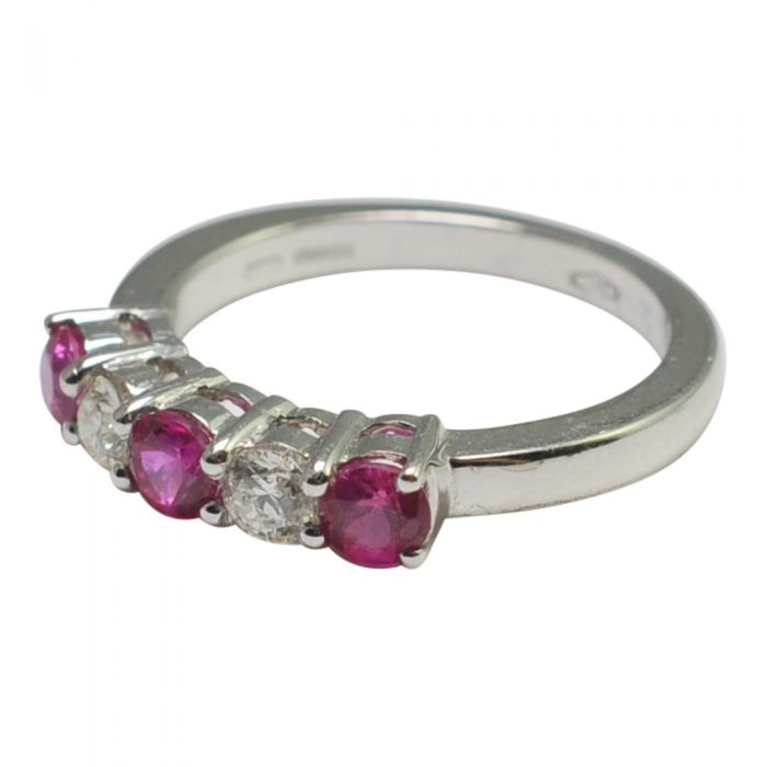 Ruby Diamond Half Eternity 5 Stone Ring