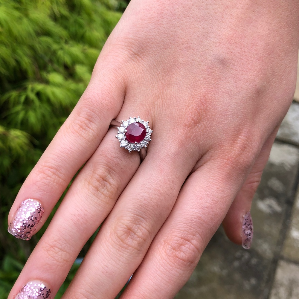 Ruby Diamond Gold Cluster Ring - Plaza Jewellery