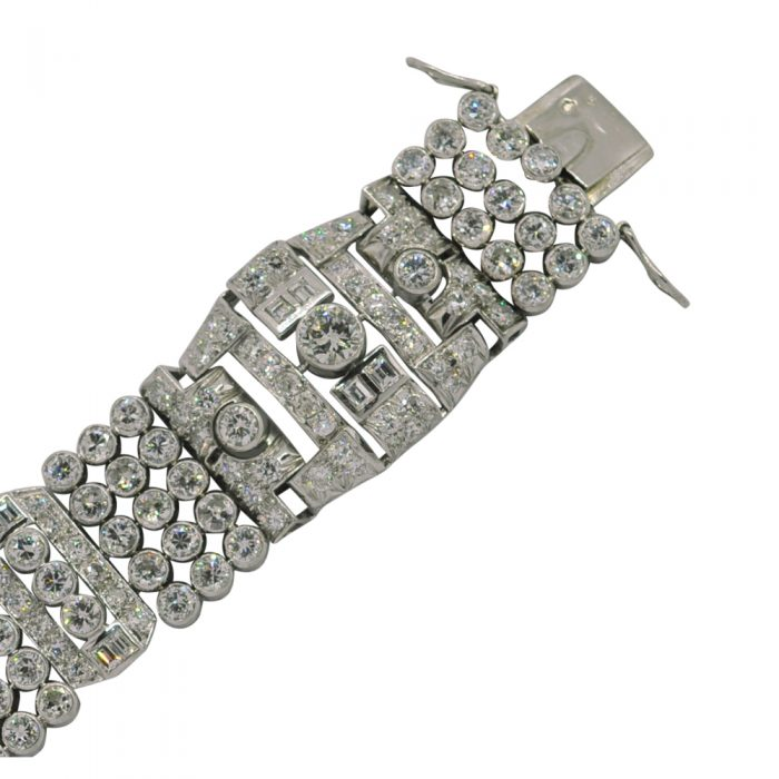 French Diamond Platinum Art Deco Bracelet