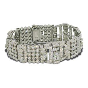 Art Deco French Diamond Platinum Bracelet