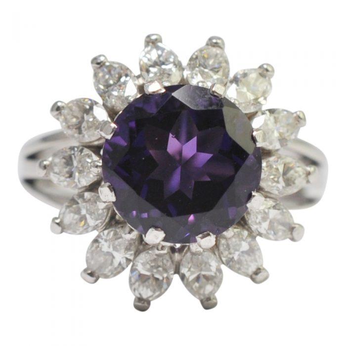 Amethyst Diamond Platinum Cluster Ring