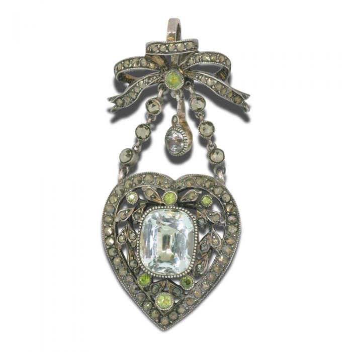 Antique French Napoleon III Aquamarine Peridot Pendant