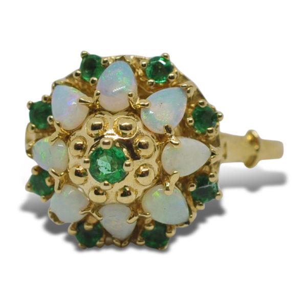 Thai Princess Opal Emerald Gold Ring