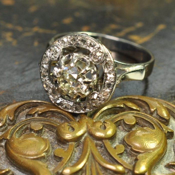Antique French Diamond 1920s Halo Gold Ring