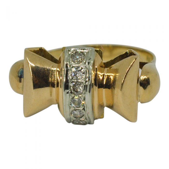 Art Deco Gold Diamond Bow Ring