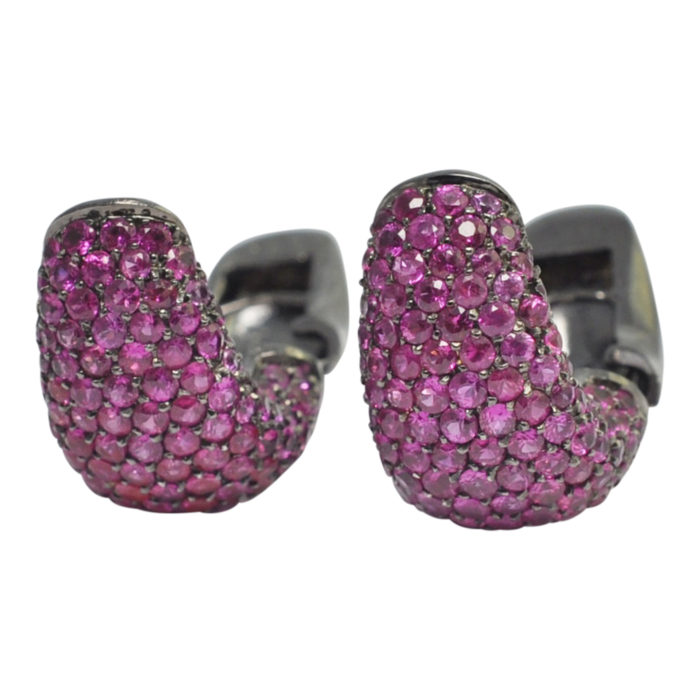Pink Sapphire Black Gold Earrings