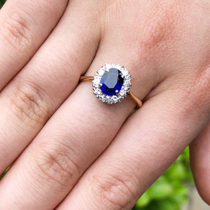 Burmese Sapphire Diamond Platinum Gold Ring