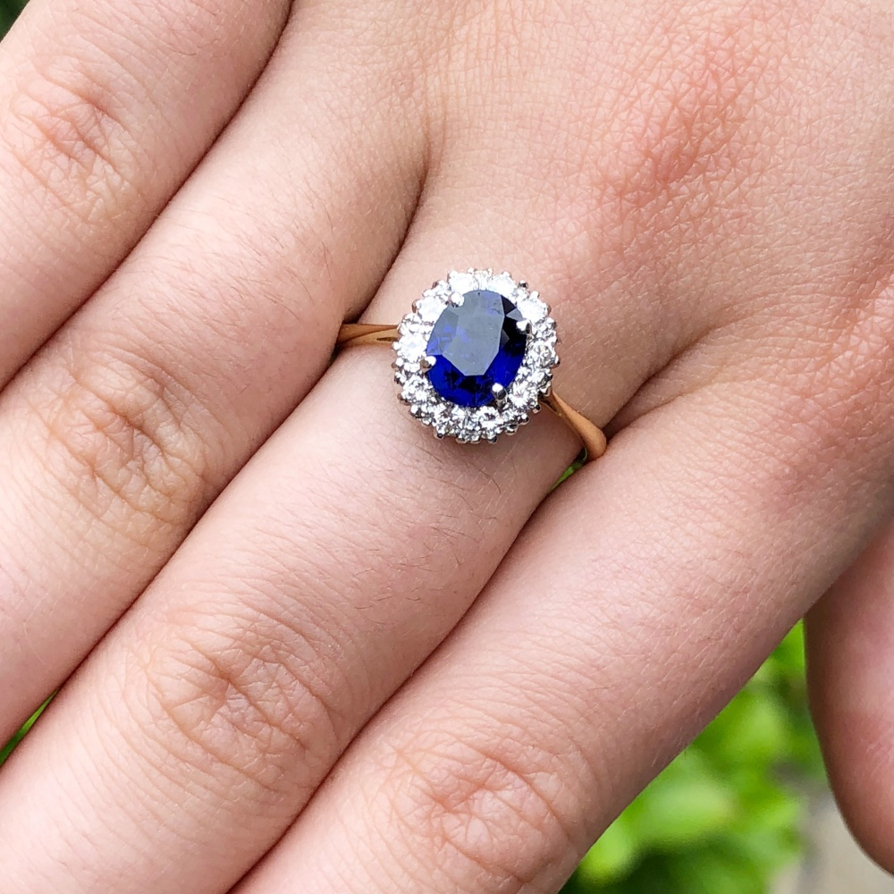 burma sapphire and burmese diamond carats no heat ring