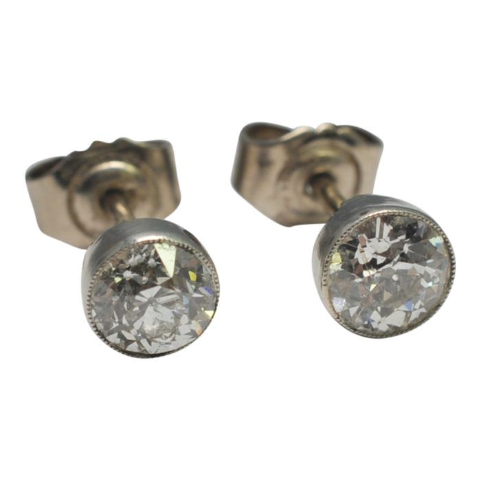 Antique Diamond Stud Gold Earrings