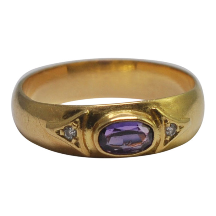 Antique Edwardian Amethyst Diamond Band Ring