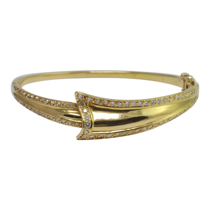 Diamond Gold Ribbon Bangle Bracelet