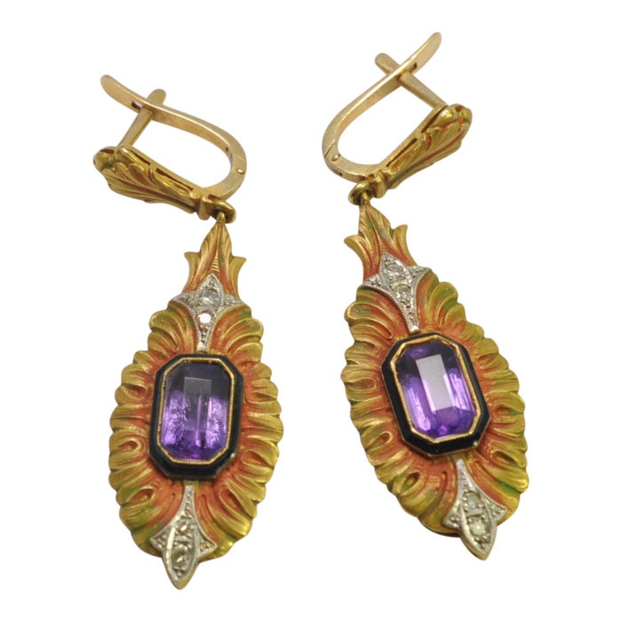 Egyptian Revival Amethyst Diamond Enamel Gold Earrings