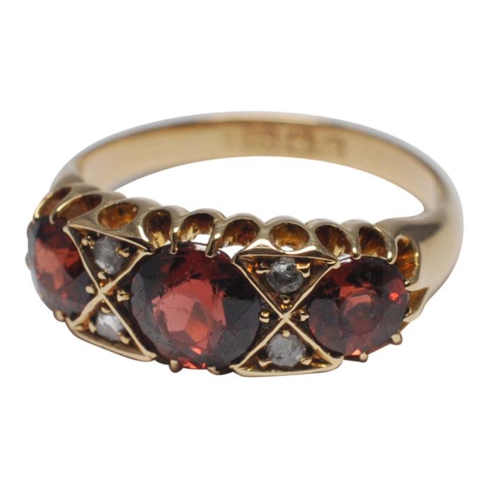 Edwardian Hessonite Garnet Diamond Gold Ring