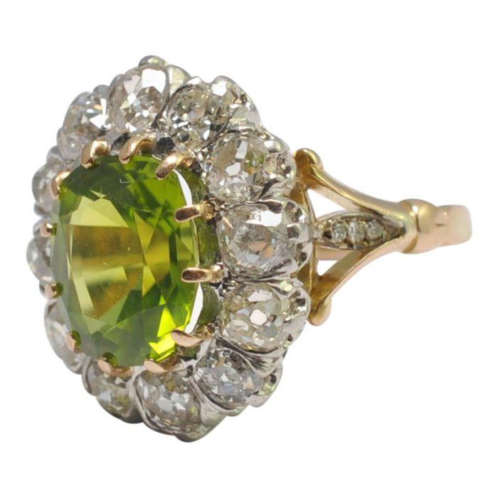 Edwardian Peridot Diamond Cluster Gold Ring