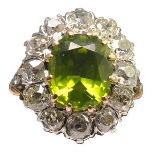 Edwardian Peridot Diamond Cluster Gold Ring