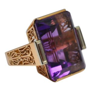 Mid Century French Amethyst Gold Ring