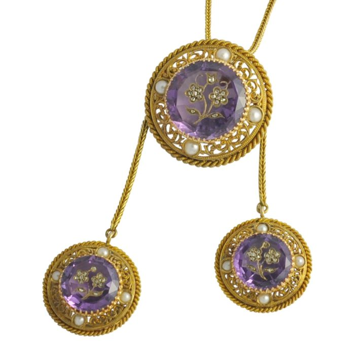 Victorian Amethyst Diamond Rose of Sharon Gold Pendant