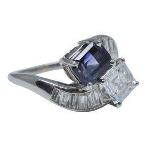 GIA Certified 1.64ct Diamond Sapphire Platinum Crossover Ring