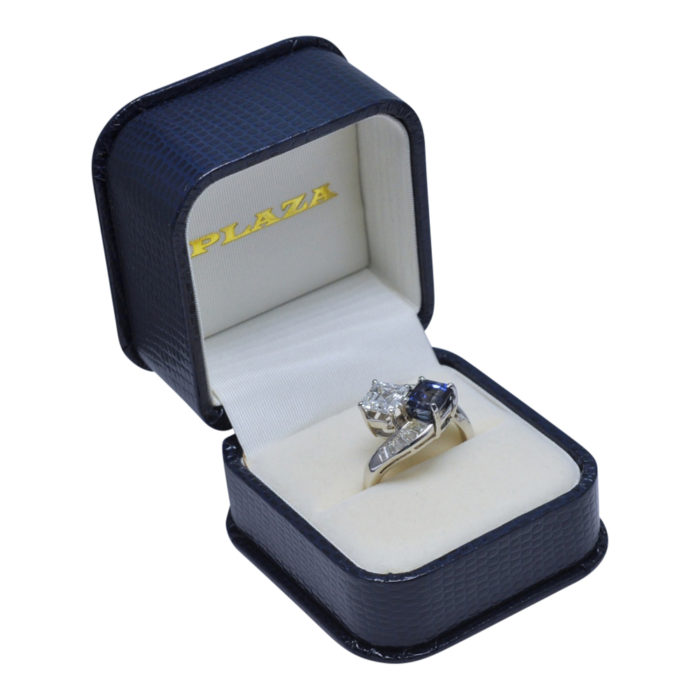 GIA Certified 1.64ct Diamond Sapphire Platinum Crossover Ring