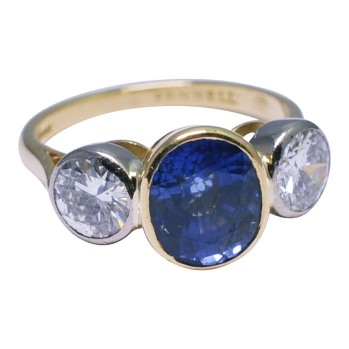 Theo Fennell Sapphire Diamond Gold Trilogy Ring
